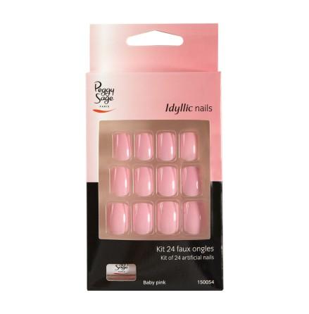 Set med 24 lösnaglar - baby pink