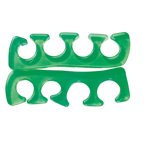 1 par tåseparatorer i silikon - grön